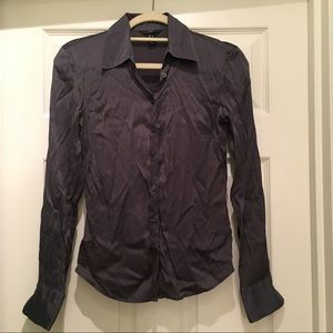 H&M gray silk blouse